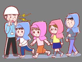 避難訓練をしているイラスト(地震)   イラぽん